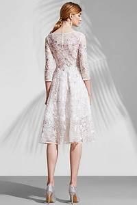 Robe Pour Temoin De Mariage : chic robe rose patineuse en dentelle avec manche longue ~ Melissatoandfro.com Idées de Décoration