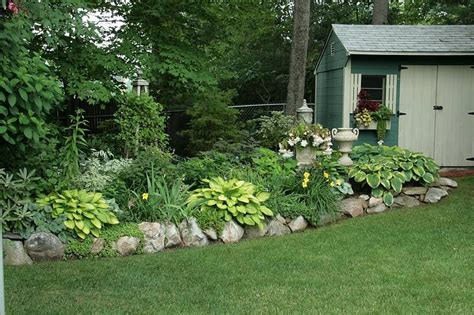 Shade Area With Hosta Lilies Rock Border Outside
