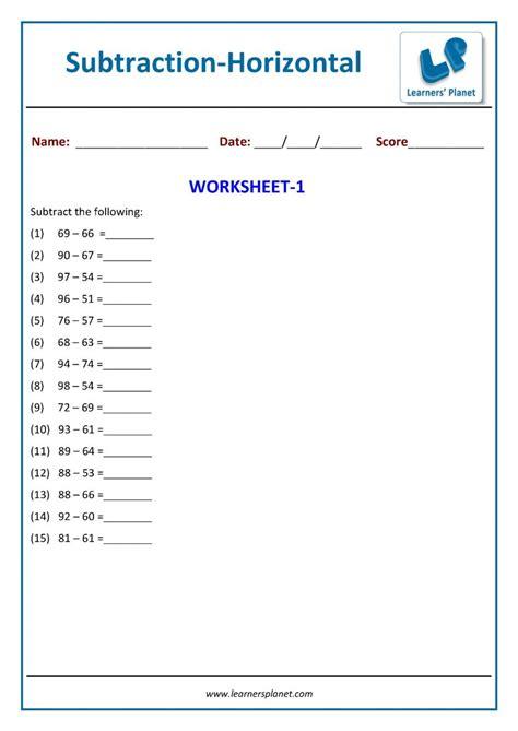 horizontal subtraction practice worksheet math st class