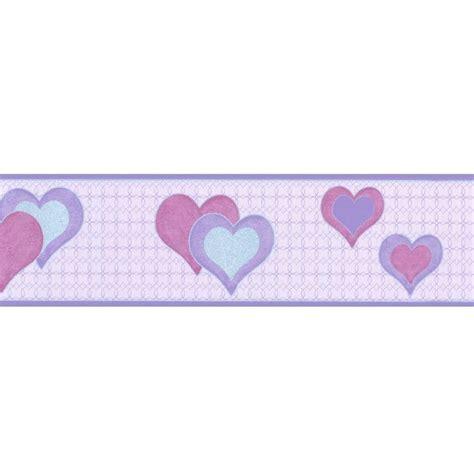 buy debona hearts wallpaper border lilac silver