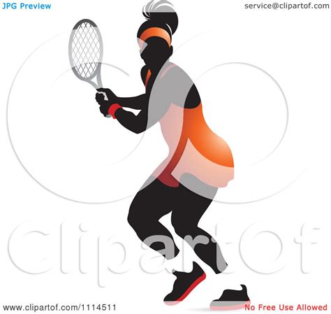 clipart silhouetted female tennis player   orange outfit royalty  vector illustration