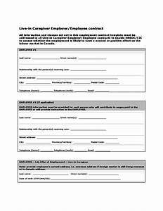 Live in caregiver employer employee contract canada free download for Live in caregiver contract form