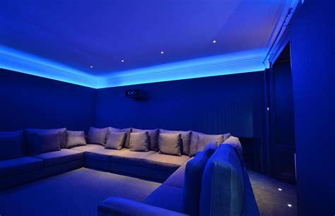 modern home cinema room bespoke walls lighting and