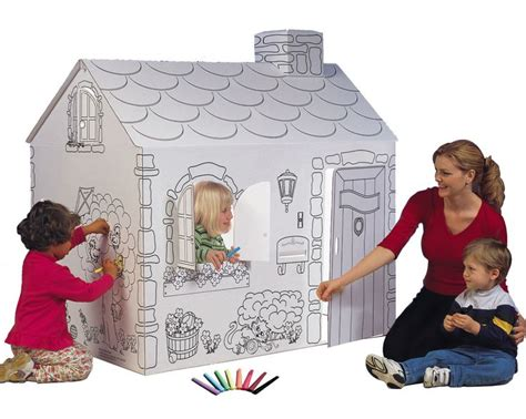 cardboard house to color 17 best ideas about simple playhouse on pallet