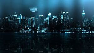 Moon over night city wallpapers and images - wallpapers ...