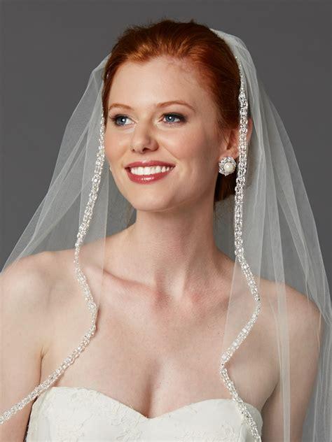 Rhinestone Edge Wedding Veil With Pearls And Beads