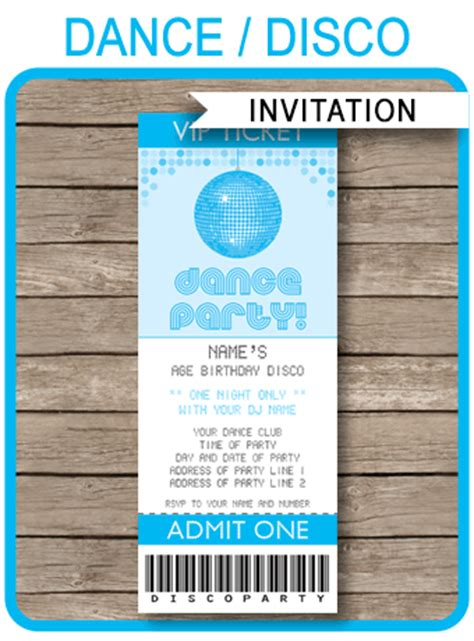 blue dance theme party ticket invitations  kids