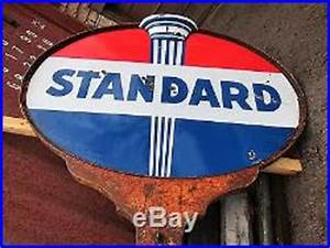 Rare Vintage Lighted Porcelain Standard Sign With Pole Non