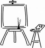 Easel Clipart Clip Painting Artist Cartoon Cliparts Library sketch template
