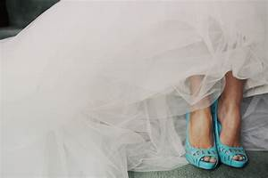 ivory tulle wedding dress paired with light blue heels and With blue shoes for wedding dress
