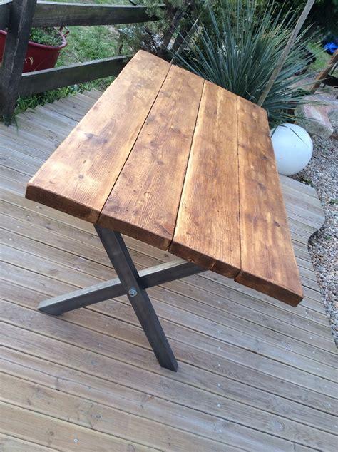 fabrication table en bois table 224 manger bois massif 233 pais sur pieds en x finition bross 233 183 designbois