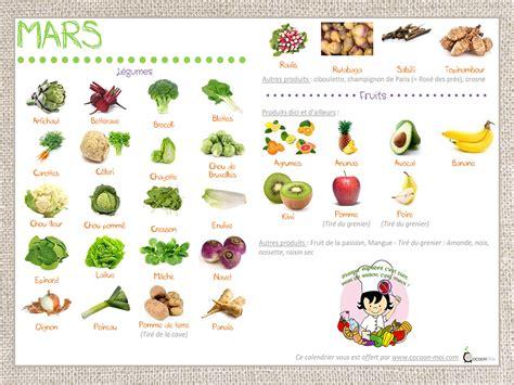le notre cours de cuisine calendrier fruits et légumes mois de mars cocoon moi