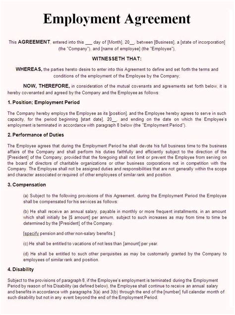 service employment contract template word rental