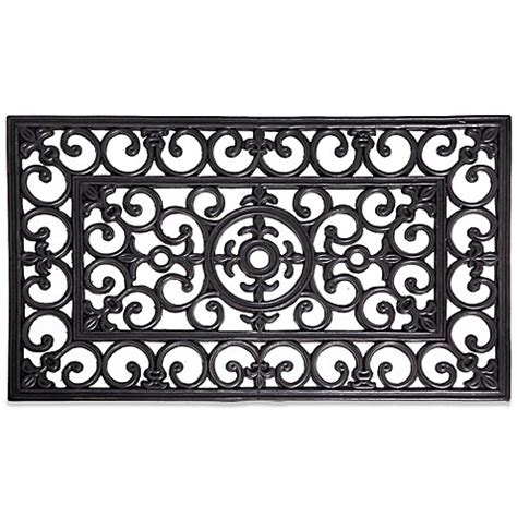Rubber Scroll Doormat by Scroll Motif Recycled Rubber Door Mat Bed Bath Beyond