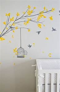 tree stencil for wall contemporary nursery turquoise la With nice yellow and gray wall decals