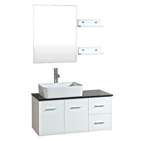 36 inch wall mounted single white wood bathroom vanity