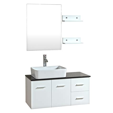 bathroom vanity with sink and faucet 36 inch wall mounted single white wood bathroom vanity