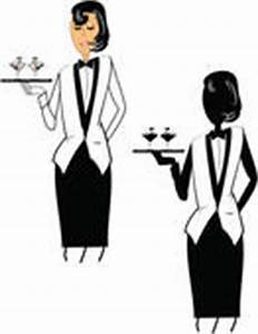Clipart of Waitress silhouette in chef hat holds serving ...