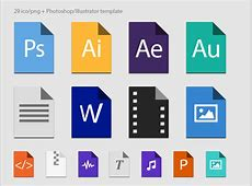 Free Flat file types in color PSD files, vectors