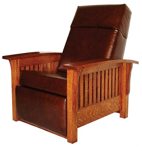 mission leather chair amish mission recliner furniture oak leather upholstered