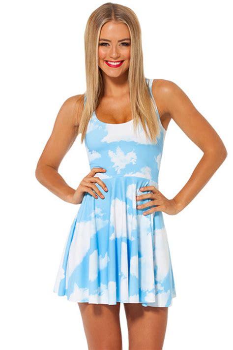 light blue sky print skater dress   casual dresses