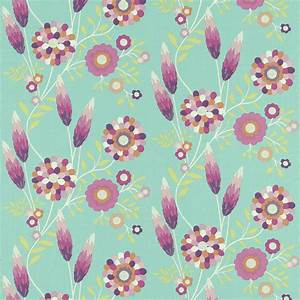 Funky Flowers Fabric - Turquoise/Orange/Lime/Pink (120220 ...