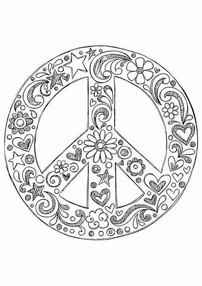 Coloring Peace Hippie Pages Sign Zentangle American