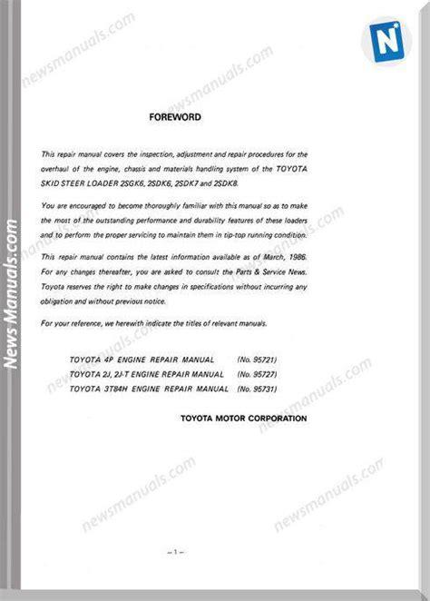 toyota skid steer sdk  repair manual