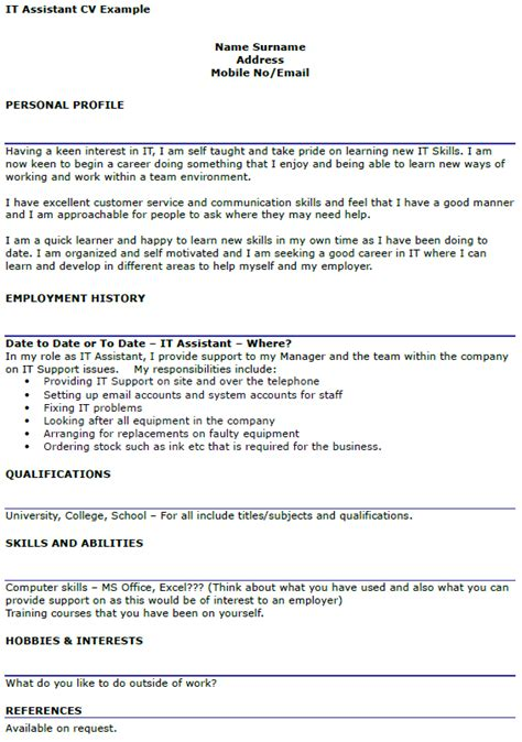 It Cv by It Assistant Cv Exle Icover Org Uk