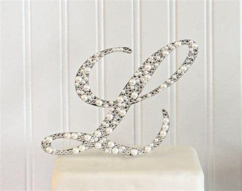 monogram cake topper decorated  pearls  swarovski crystals   letter