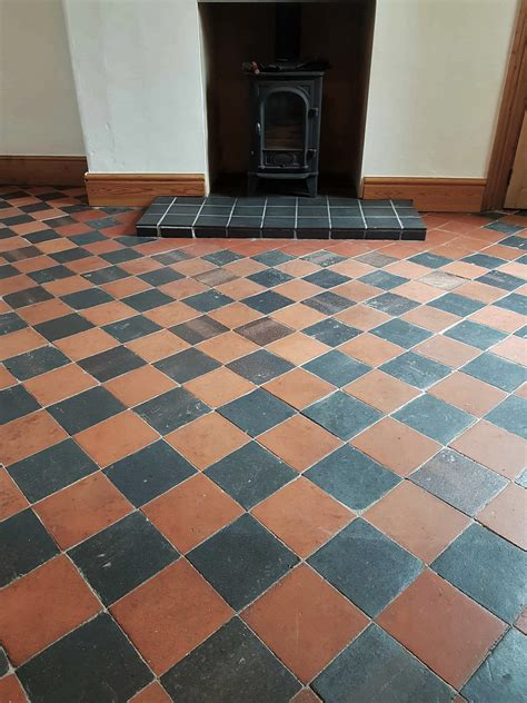 cleaning sealing red  black quarry floor tiles buxton