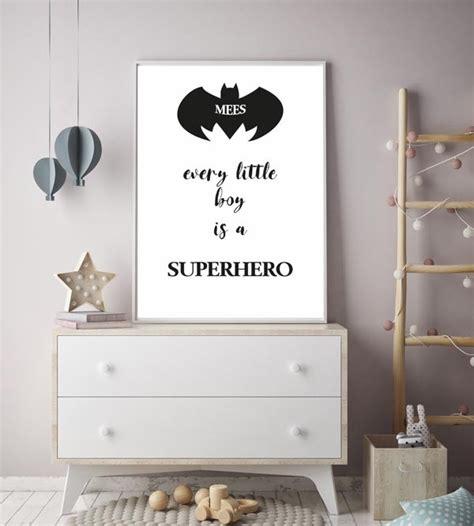 superheld kinderkamer poster met naam en logo