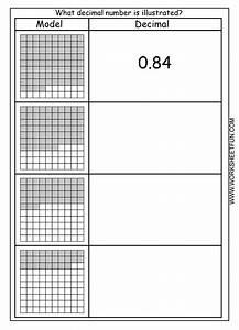 Decimal  U2013 Model  U2013 Hundredths  U2013 4 Worksheets    Free