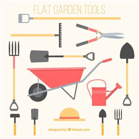 free landscaping tool flat gardening tools vector free download