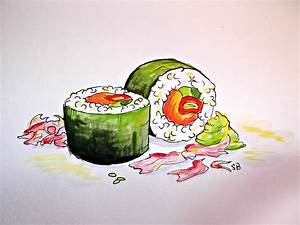 Drawn sushi realistic - Pencil and in color drawn sushi ...