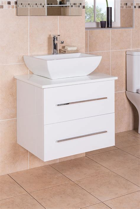 white  mm wall hung vanity basin sink unit  drawer