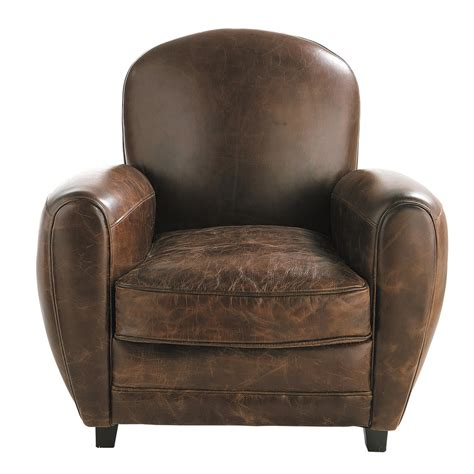 chaise cuir marron leather armchair in brown oxford maisons du monde