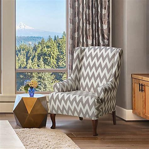 furniture skins slipcovers furnitureskins dakota stretch wing chair cover in grey 1140