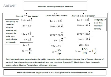 gcse maths revision resources convert a recurring