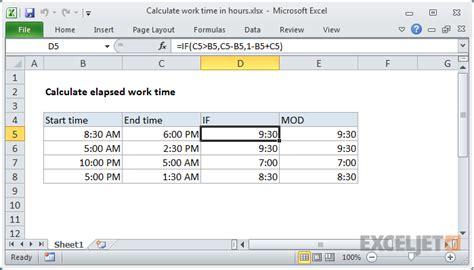 excel formula calculate number hours times exceljet