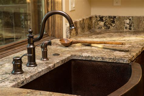 Water Tower Inspired Home Kitchen Sink Closeup  Rustic