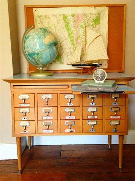 Vintage Library Card File Cabinet by Recycling Vintage File Cabinets Rooms Kidspace