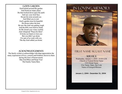 Funeral Program Template Funeral Program Template Brown Sunset