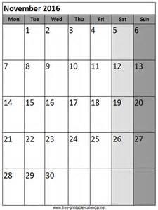 November 2016 Calendar Printable Org