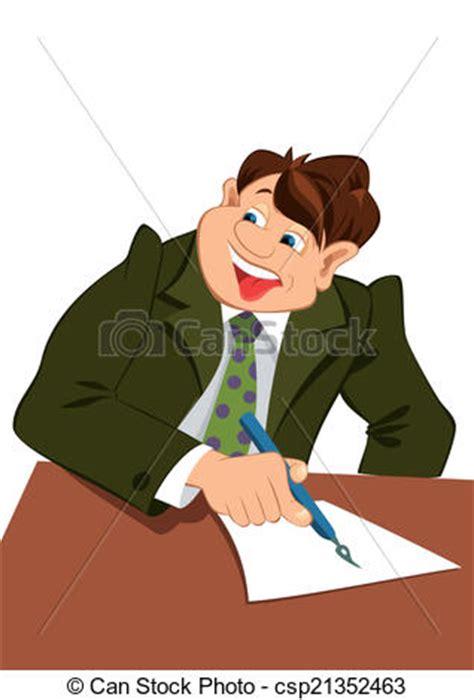 clip art vector  retro hipster man writing letter