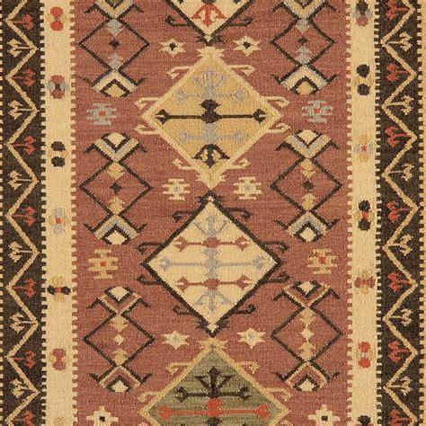 tapis rouge brique design  motifs kilim en laine  jute