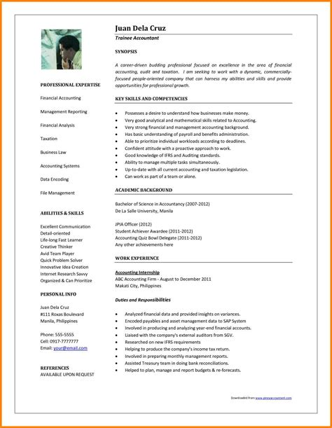 Accounting Resume Template Microsoft Word by 5 Accountant Resume Format In Word Cashier Resumes
