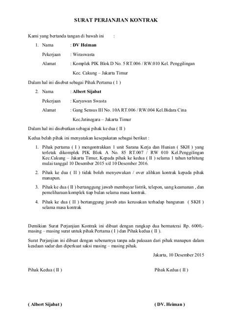 contoh surat perjanjian kontrak bangunan