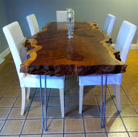 hand crafted  edge redwood kitchen table  ozma