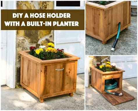 diy pallet wood hose holder  planter diycandycom